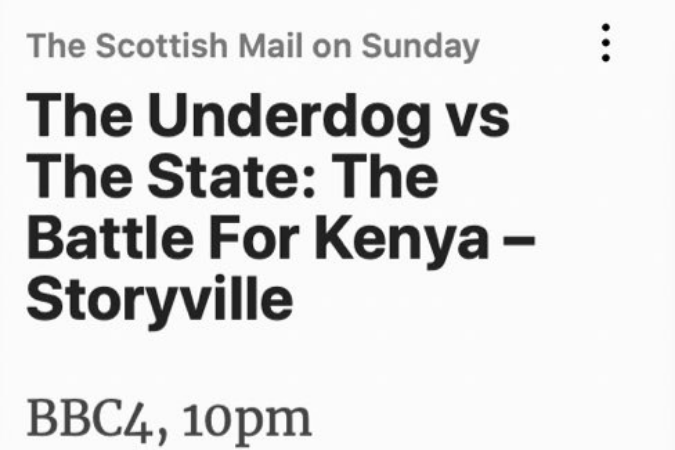 FIRST KENYAN DOCUMENTARY TO AIR ON BBC4 STORYVILLE: SOFTIE